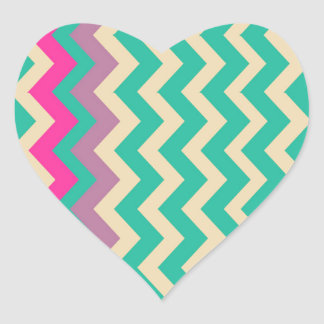 Zigzags confinados mezclados coloridos pegatina en forma de corazón