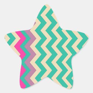 Zigzags confinados mezclados coloridos pegatina en forma de estrella
