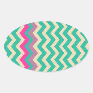 Zigzags confinados mezclados coloridos pegatina ovalada