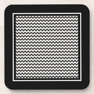 Zigzags Cork Coaster, Black and White Chevrons Drink Coaster
