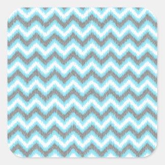Zigzags de Ikat Chevron del gris azul Pegatina Cuadradas