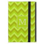 Zigzags de la verde lima con el monograma de encar iPad mini protectores