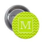Zigzags de la verde lima con el monograma de encar pin