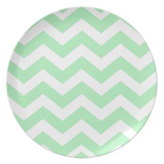 Zigzags de la verde menta y del blanco plato de comida