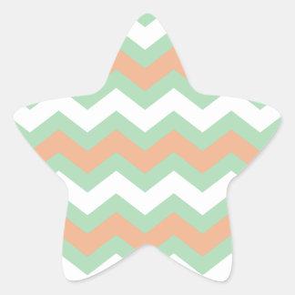 Zigzags de la verde menta y del melocotón pegatina en forma de estrella