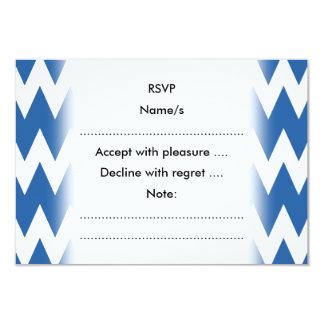 """Zigzags del blanco y de los azules marinos invitación 3.5"""" x 5"""""""