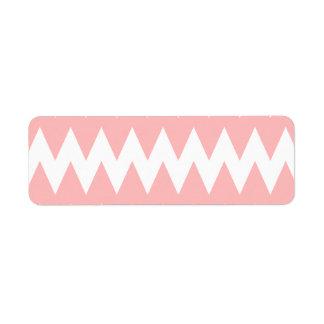 Zigzags del rosa blanco y en colores pastel etiquetas de remite