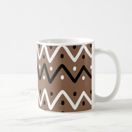 Zigzags en Brown Tazas De Café