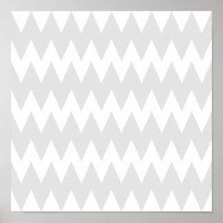 Zigzags grises blancos y en colores pastel póster