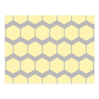 Zigzags grises, modelo amarillo de los hexágonos postales