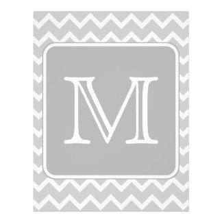 """Zigzags grises y blancos con el monograma de encar folleto 8.5"""" x 11"""""""