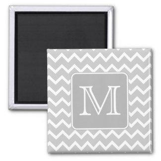 Zigzags grises y blancos con el monograma de encar imán cuadrado