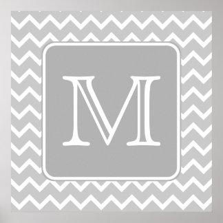 Zigzags grises y blancos con el monograma de encar póster