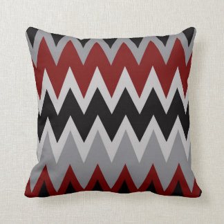 Zigzags in Red Gray & Black Throw Pillow