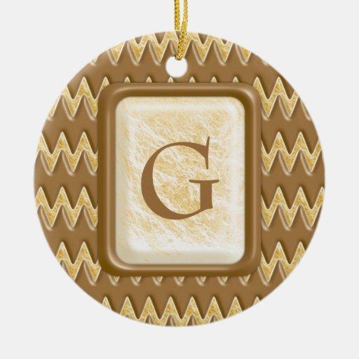 Zigzags - melcocha del chocolate adorno navideño redondo de cerámica