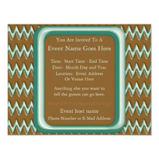 """Zigzags - menta del chocolate invitación 4.25"""" x 5.5"""""""