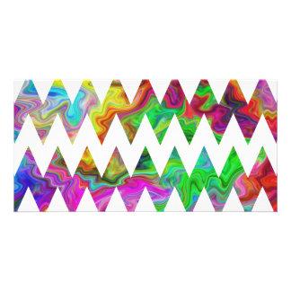 Zigzags multicolores brillantes tarjeta personal con foto