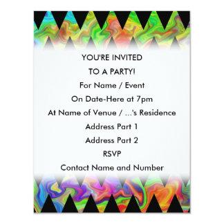 """Zigzags multicolores negros y brillantes invitación 4.25"""" x 5.5"""""""
