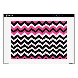 Zigzags negros y rosados del arte pop portátil 38,1cm skins