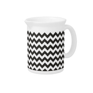 Zigzags Pitcher or Jug Black and White Chevrons