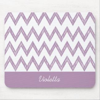 Zigzags púrpuras de Chevron del lápiz de moda con Alfombrillas De Ratones