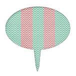 Zigzags rayados de color salmón y verdes de Chevro Decoraciones Para Tartas