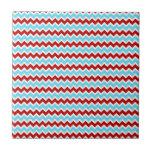 Zigzags rojos de Chevron de la turquesa de moda fr Azulejo Ceramica