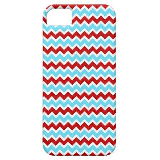 Zigzags rojos de Chevron de la turquesa de moda fr iPhone 5 Carcasas