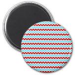 Zigzags rojos de Chevron de la turquesa de moda fr Imán Para Frigorifico