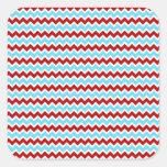 Zigzags rojos de Chevron de la turquesa de moda Pegatinas Cuadradases Personalizadas