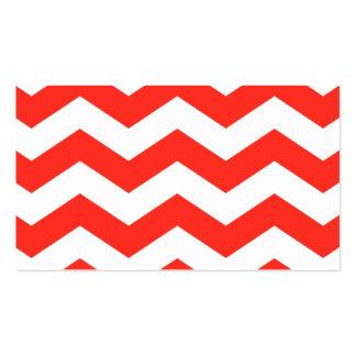 Zigzags rojos y blancos tarjetas de visita