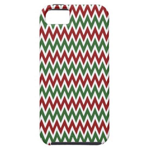 Zigzags rojos y verdes intrépidos de Chevron del iPhone 5 Funda
