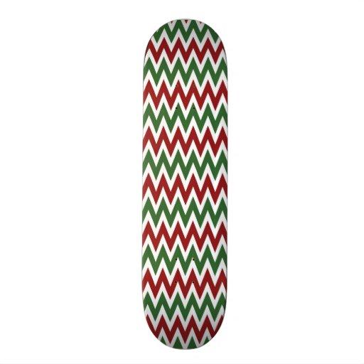 Zigzags rojos y verdes intrépidos de Chevron del n Monopatines Personalizados