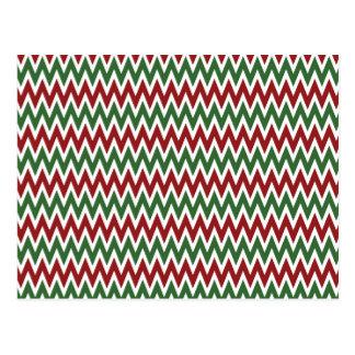 Zigzags rojos y verdes intrépidos de Chevron del Tarjetas Postales