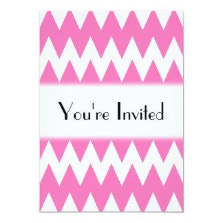 """Zigzags rosados blancos y brillantes invitación 5"""" x 7"""""""