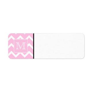 Zigzags rosados con el monograma de encargo etiqueta de remite
