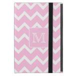 Zigzags rosados con el monograma de encargo iPad mini fundas