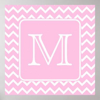 Zigzags rosados con el monograma de encargo póster