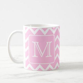 Zigzags rosados con el monograma de encargo tazas de café