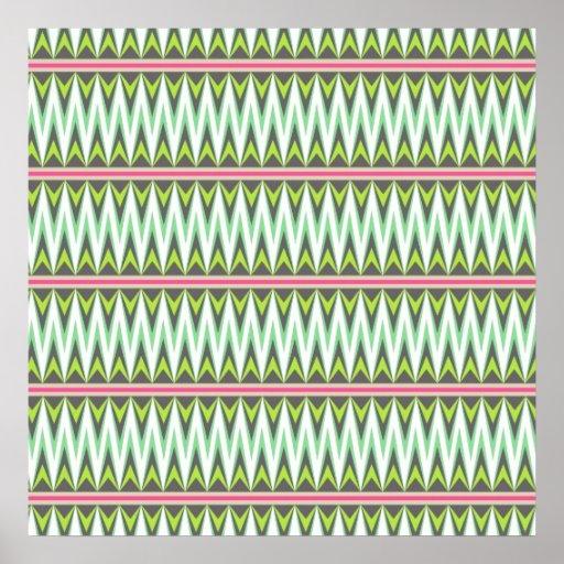 Zigzags tribales aztecas de Chevron de las montaña Poster
