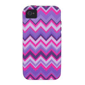 Zigzags tribales rosados púrpuras intrépidos de Ch Vibe iPhone 4 Fundas