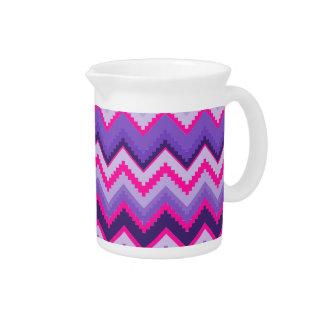 Zigzags tribales rosados púrpuras intrépidos de Ch Jarrón