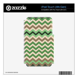 Zigzags verdes con negro iPod touch 4G skins