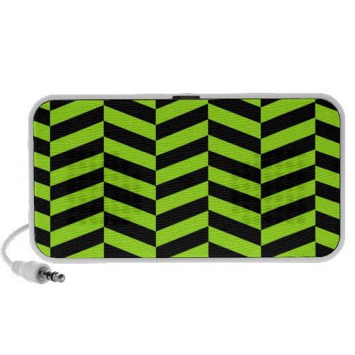 Zigzags verdes y negros de neón enrrollados Chevro Mp3 Altavoz