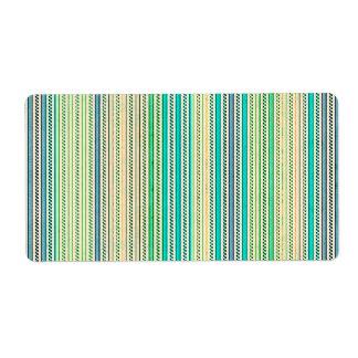 Zigzags y rayas de sombras azules y verdes etiquetas de envío