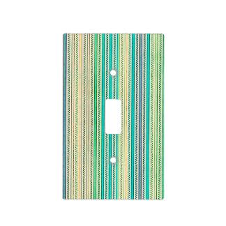 Zigzags y rayas de sombras azules y verdes tapa para interruptor
