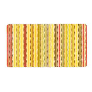 Zigzags y rayas naranja y sombras del amarillo etiqueta de envío