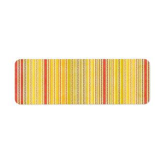 Zigzags y rayas naranja y sombras del amarillo etiqueta de remitente