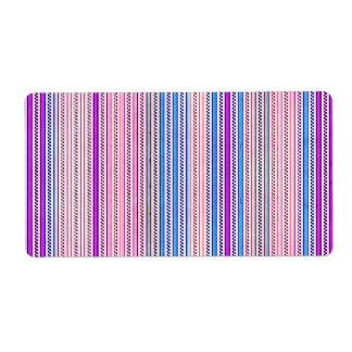 Zigzags y rayas púrpuras y sombras azules etiqueta de envío