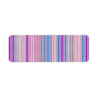 Zigzags y rayas púrpuras y sombras azules etiquetas de remite